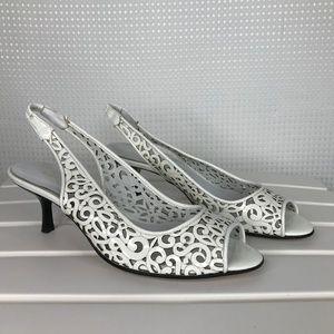Ramon Tenza Heels White Patent Leather Peep Toe 8